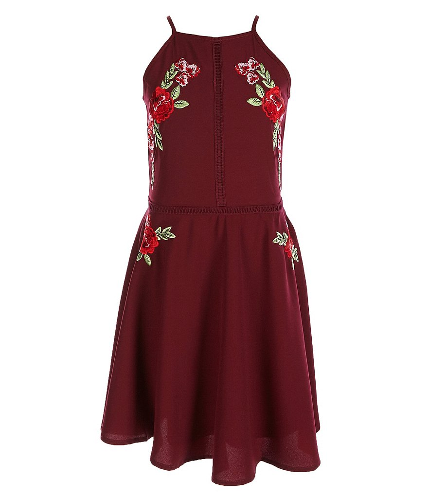GB Girls Big Girls 7-16 Social Embroidered Fit-and-Flare Dress