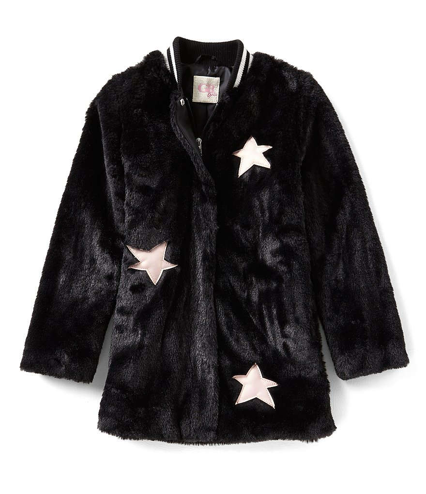 GB Girls Big Girls 7-16 Star-Applique Faux Fur Bomber Jacket