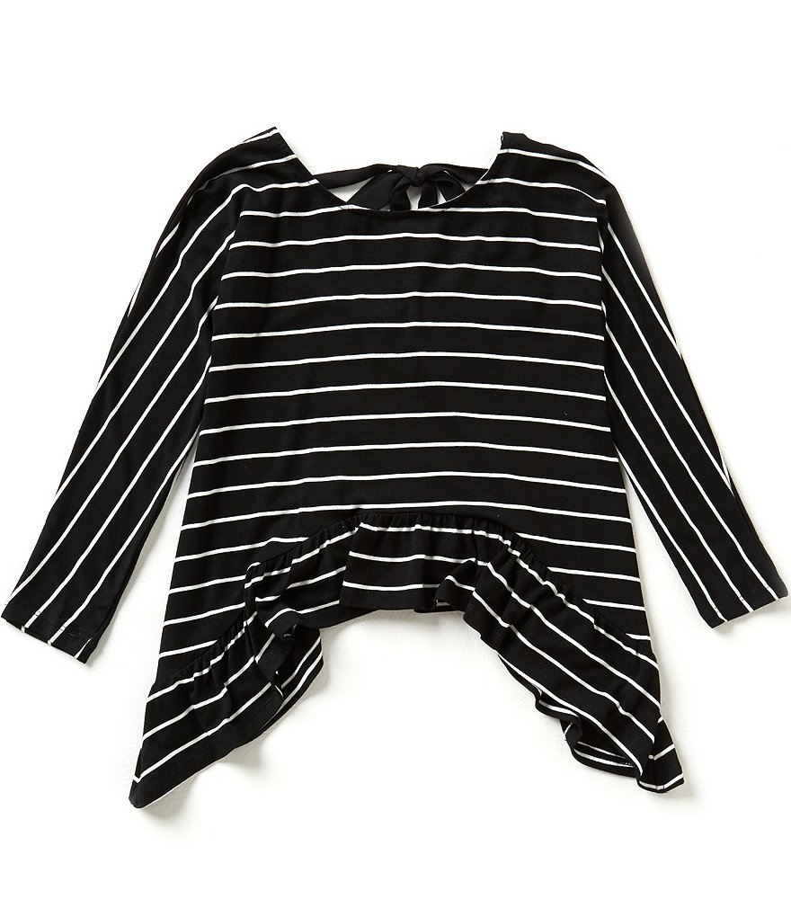 GB Girls Big Girls 7-16 Striped Knit Ruffle-Hem Top