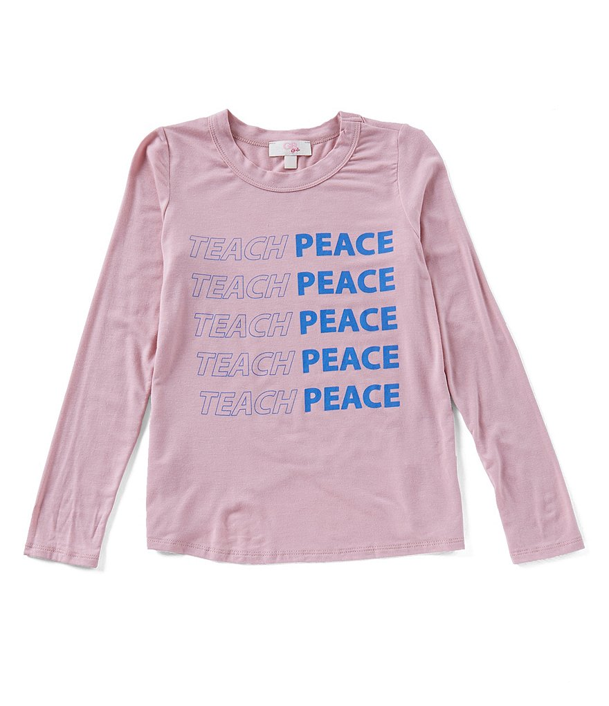 GB Girls Big Girls 7-16 Teach Peace Knot-Front Top