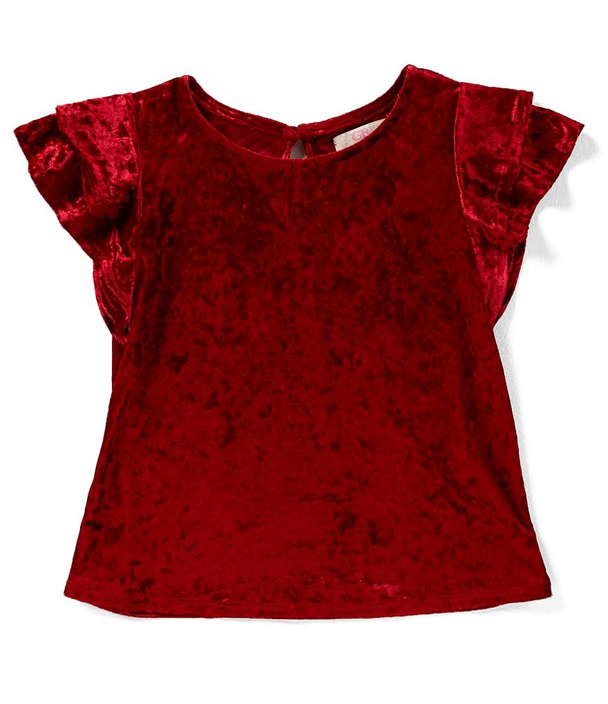 GB Girls Big Girls 7-16 Velvet Ruffle-Sleeve Top