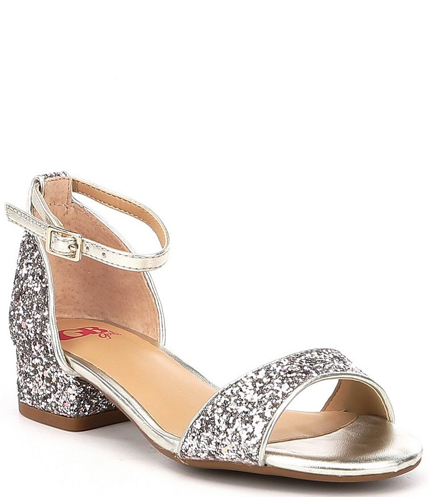 GB Girls Block-Girl Glitter Ankle-Strap Block-Heel Dress Sandals