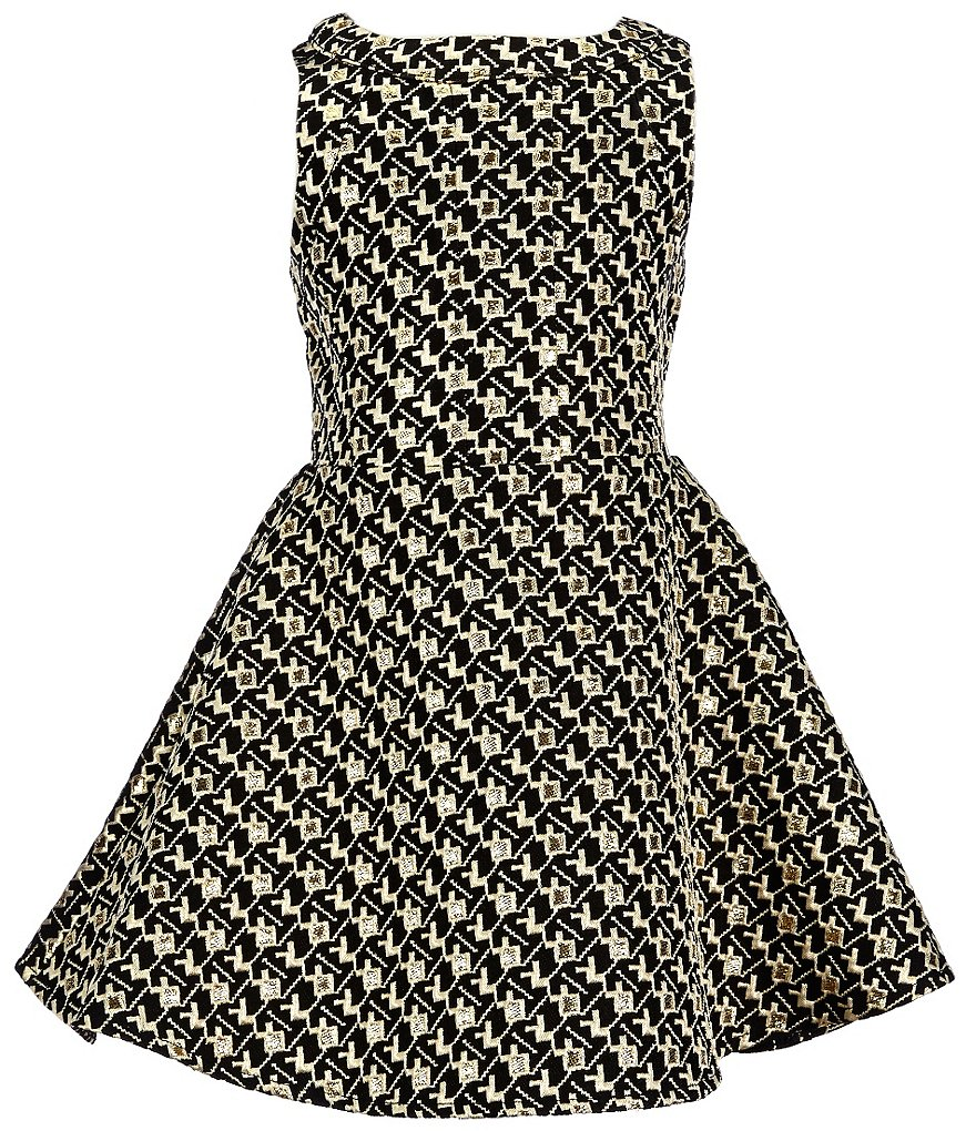 GB Girls Little Girls 4-6X Foiled Jacquard Dress