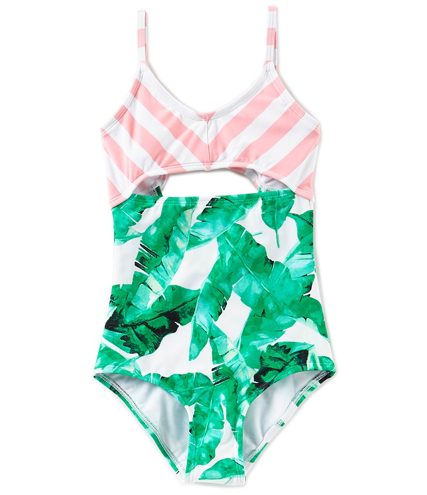 GB Girls Little Girls 4-6X Leaf Cut Out One-Piece Swimsuit