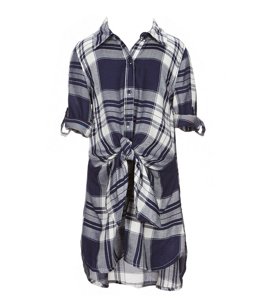 GB Girls Little Girls 4-6X Plaid Tie-Front Dress