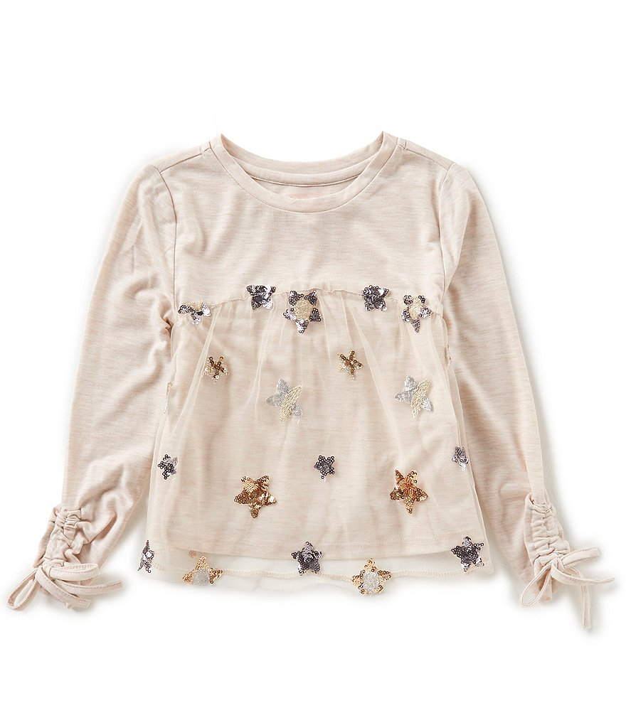 GB Girls Little Girls 4-6X Star-Mesh Top