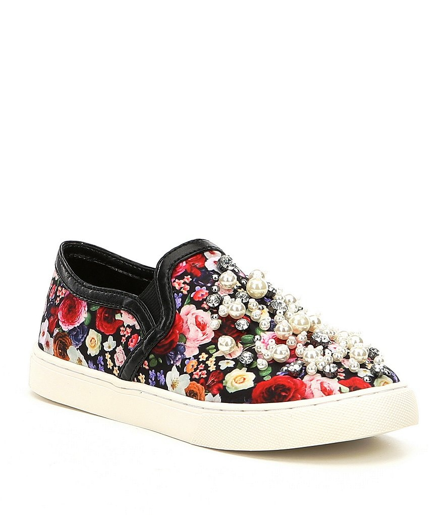 GB Girls Rosey-Girl Floral Print Stud and Pearl Sneakers