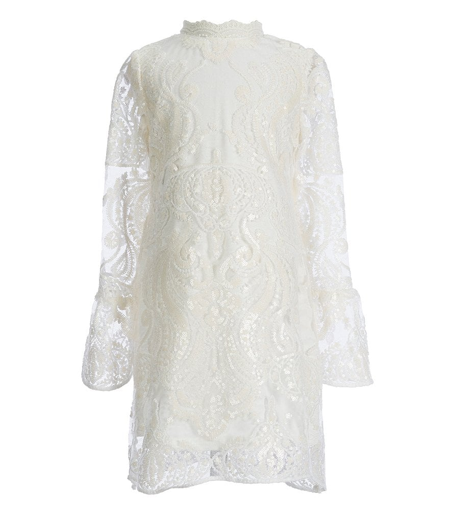 GB Girls Social Little Girls 4-6X Bell-Sleeve Lace Dress