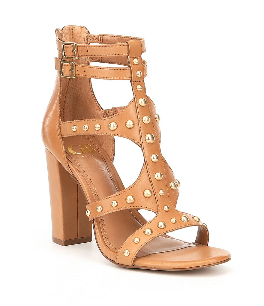 GB Gliss-Ning Caged Metal Stud Hardware Block Heel Dress Sandals
