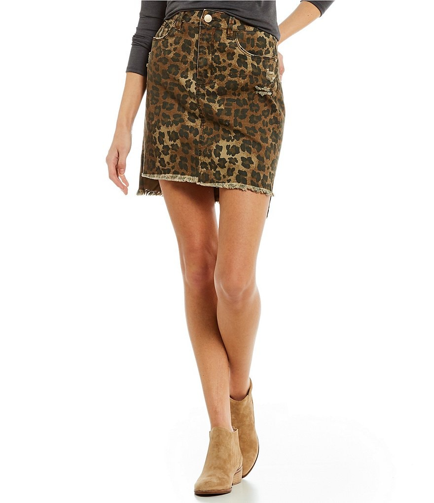 GB High Waist Leopard Skirt