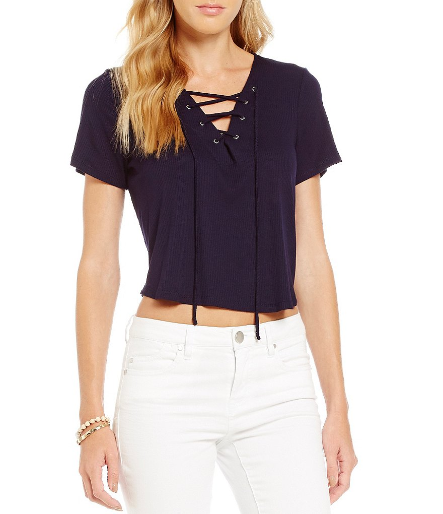 GB Knit Lace-Up Crop Top