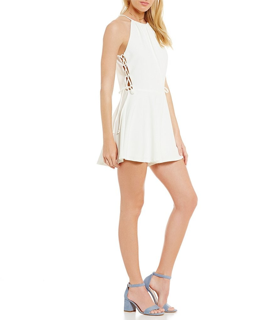 GB Lace-Up Sides Open Back Romper