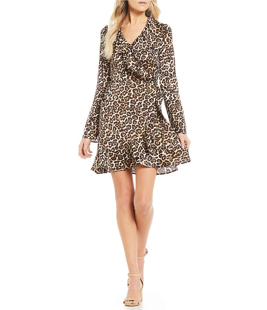 GB Leopard Ruffle Wrap Dress