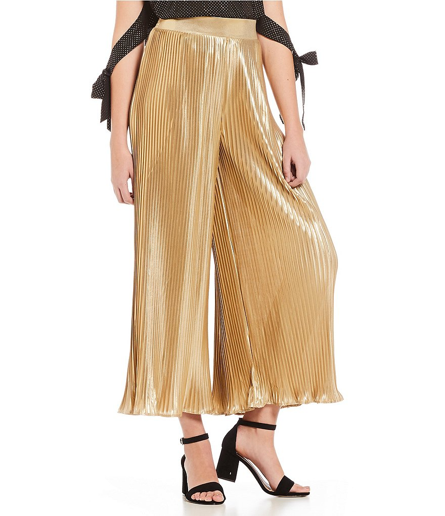 GB Metallic Pleated Culotte Pants