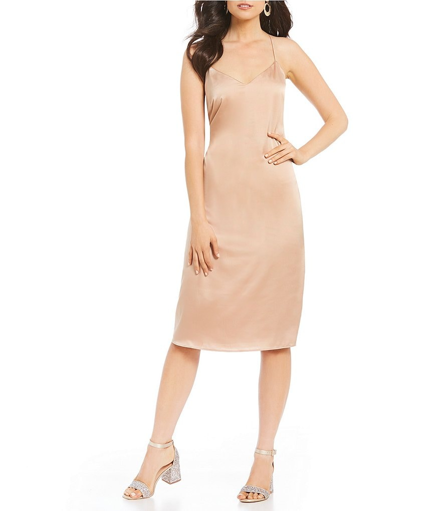 GB Midi Satin Slip Dress