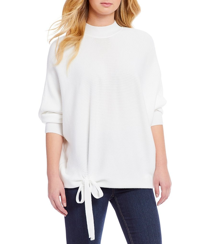 GB Mockneck Dolman Sleeve Tie Sweater