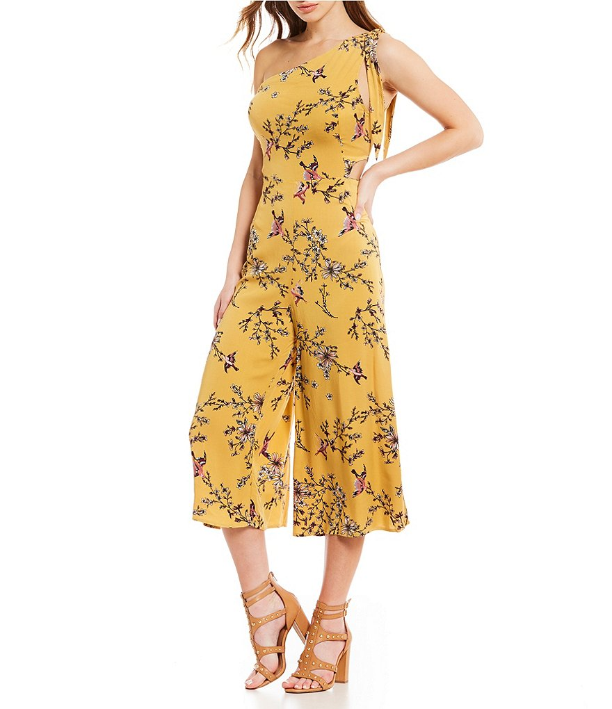 GB One Shoulder Floral Culotte Jumpsuit