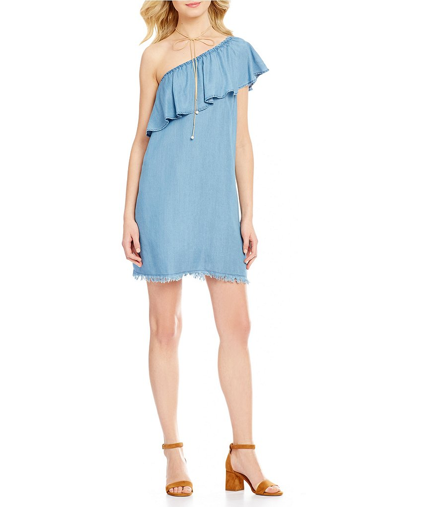 GB One-Shoulder Ruffle Raw-Edge Hem Chambray Shift Dress