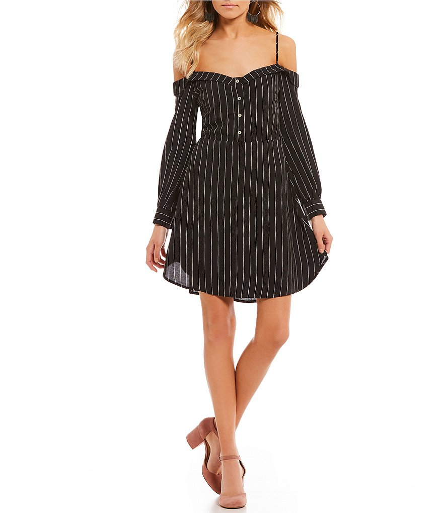 GB Portrait Collar Striped Dress