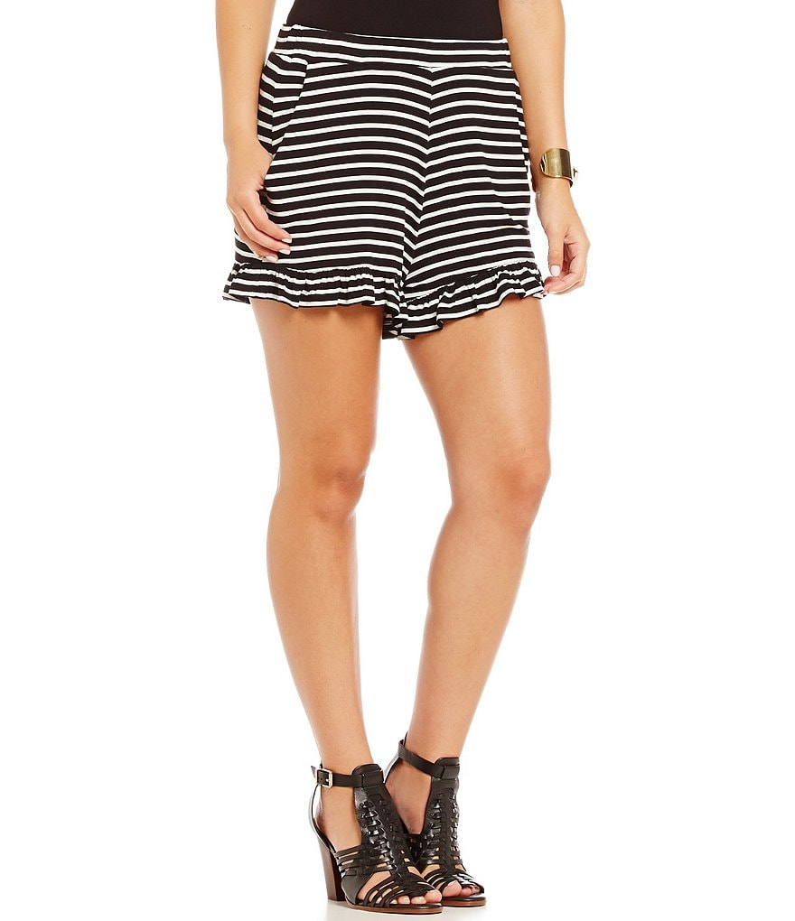 GB Ruffle Hem Striped Elastic Shorts