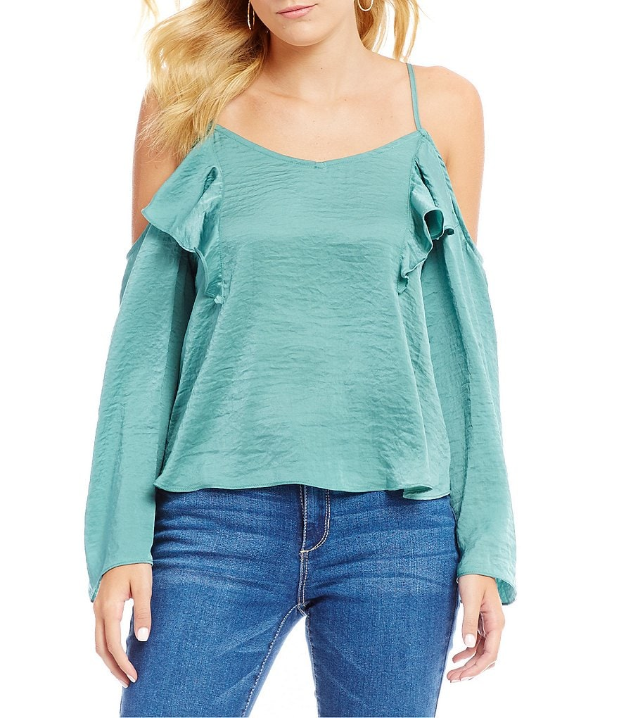 GB Satin Cold Shoulder Top