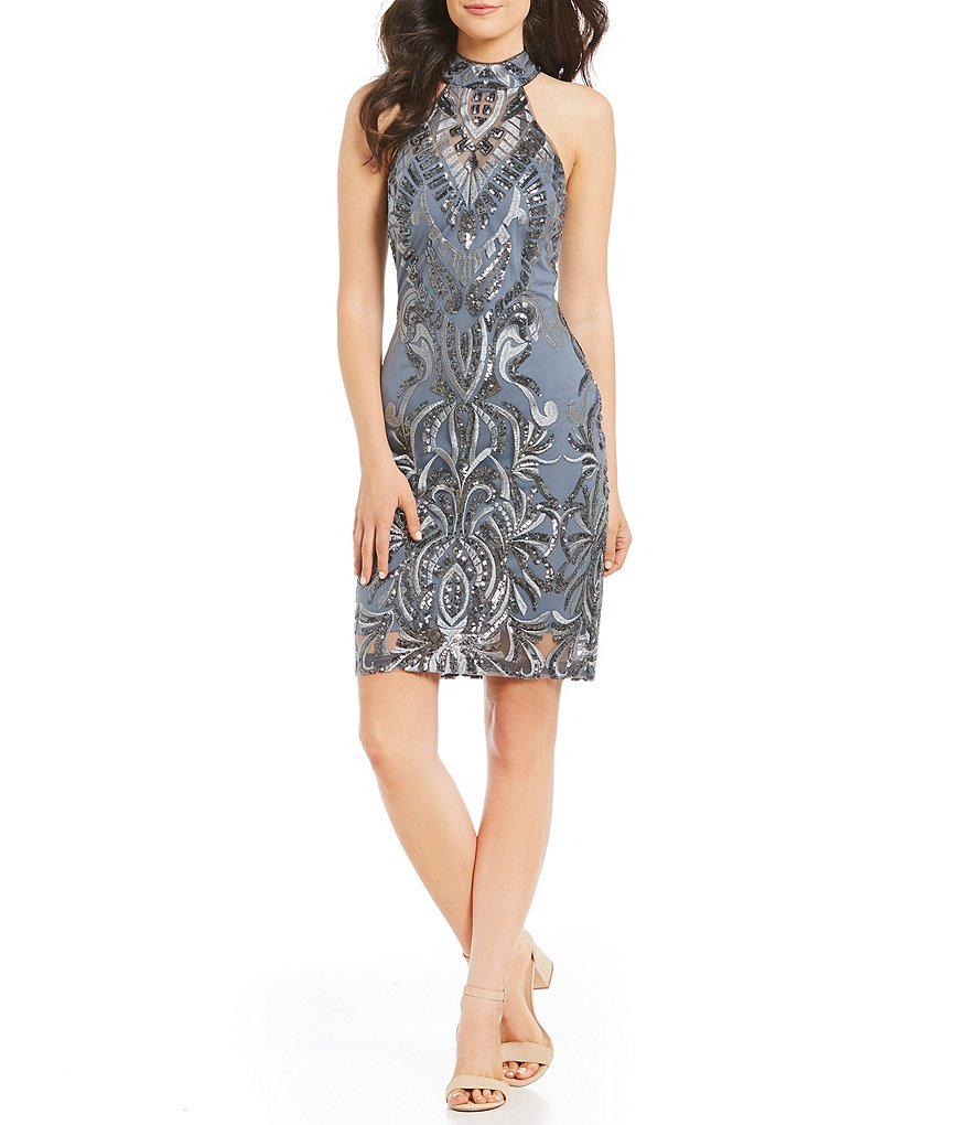 GB Social All Over Patterned Sequin Sheath Dress