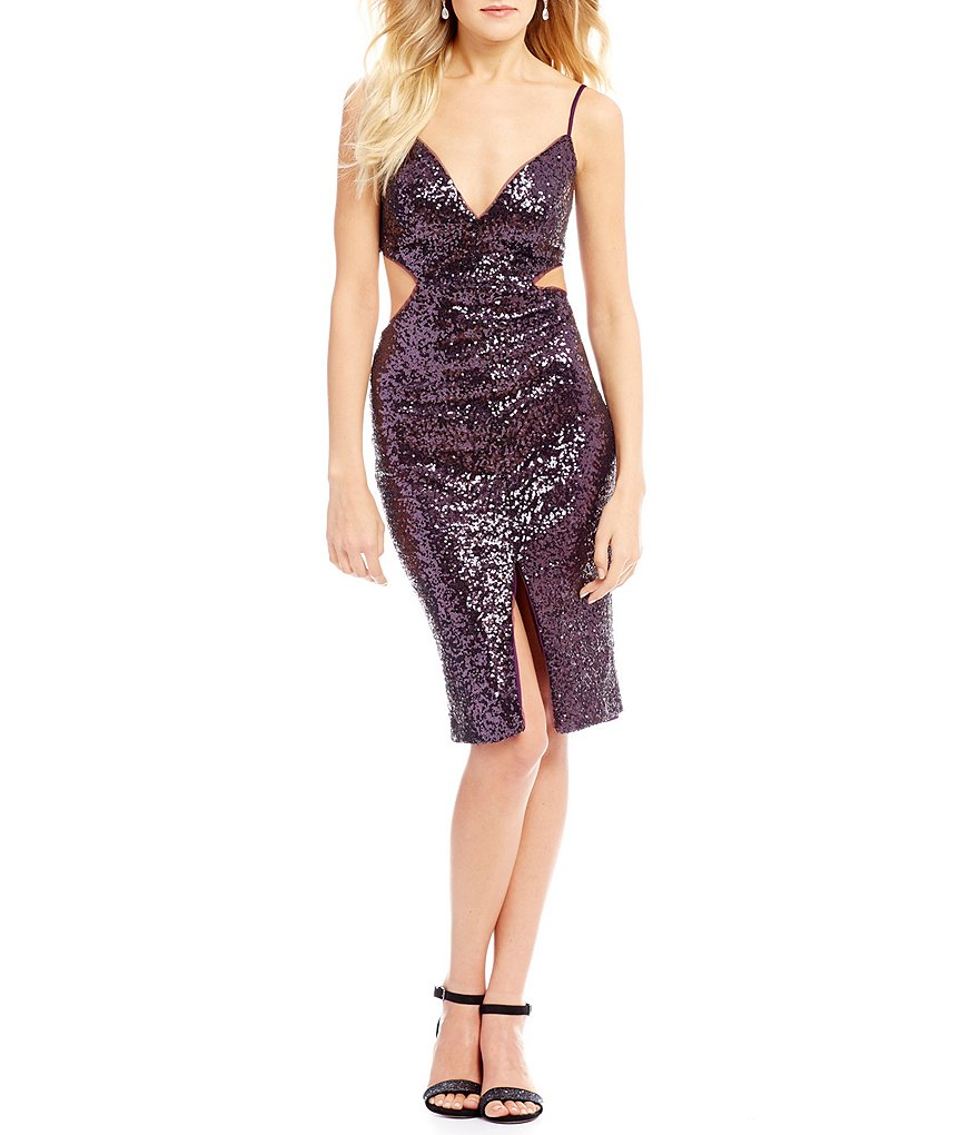 GB Social Cut Out Sequin Midi Dress