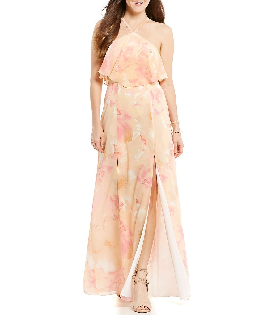 GB Social Halter Y-Neck Popover Floral-Print Maxi Dress