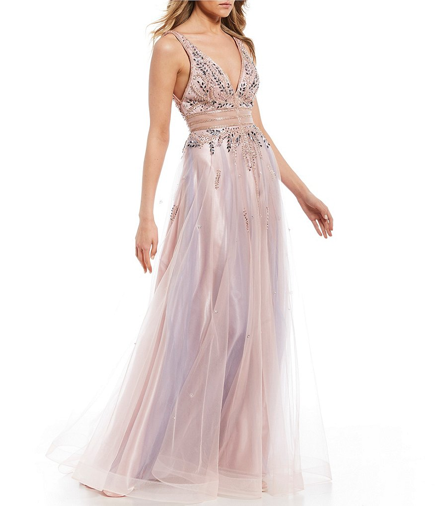 GB Social Jeweled Sheer Inset Ballgown