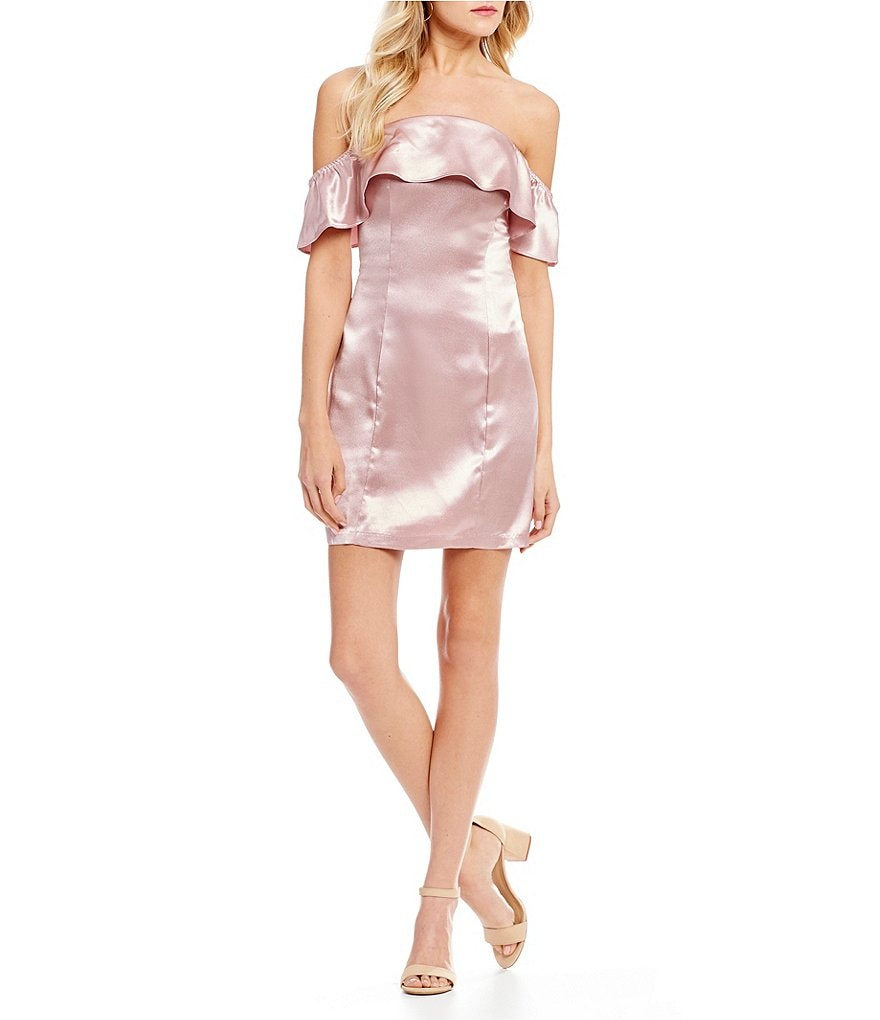 GB Social Off the Shoulder Satin Sheath Dress