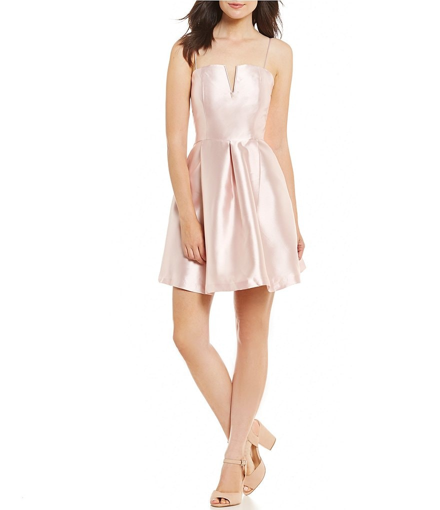GB Social Split V Satin Skater Dress