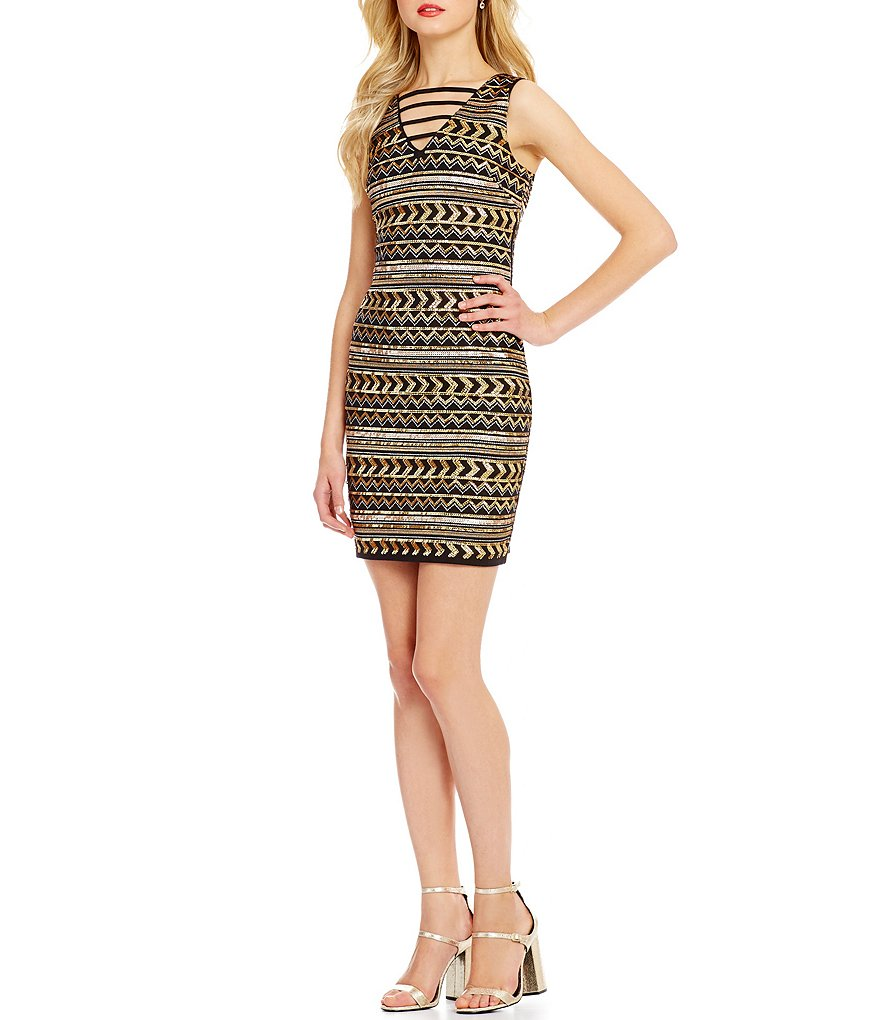 GB Sequin Pattern Strappy V-Neck Sheath Dress