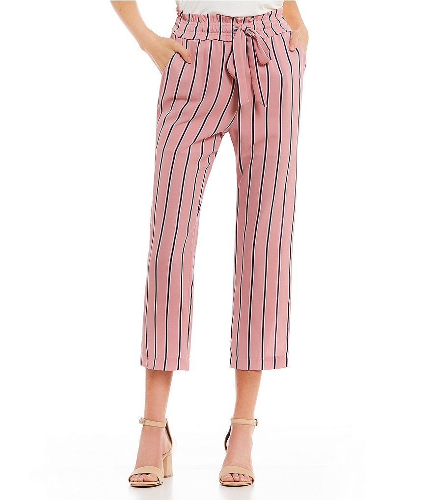 GB Striped Tie Front Cropped Pants