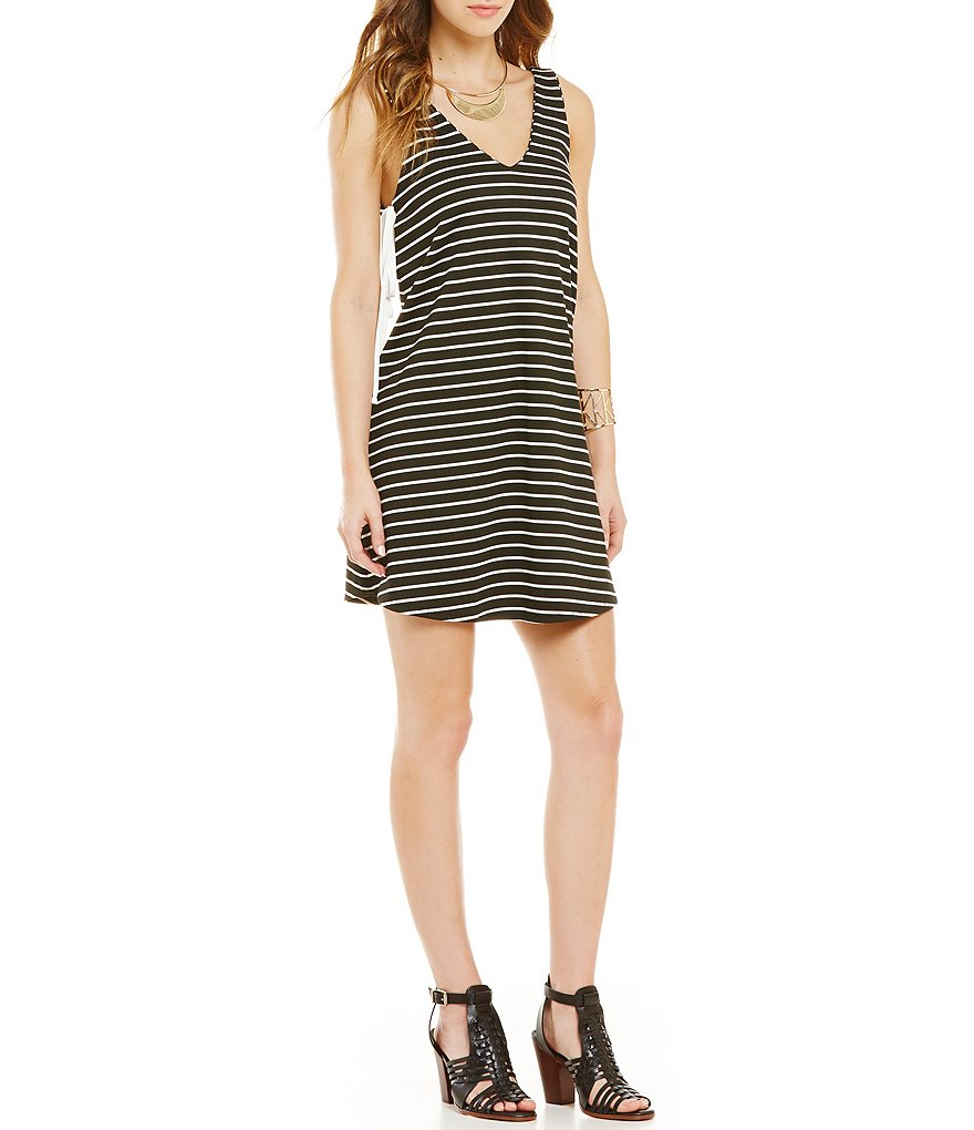 GB Striped Tank Side-Tie Dress