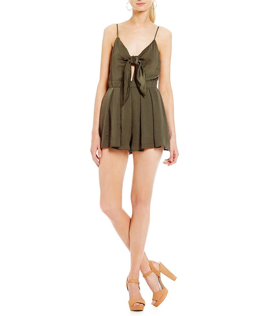 GB Tie Front Satin Cut Out Romper