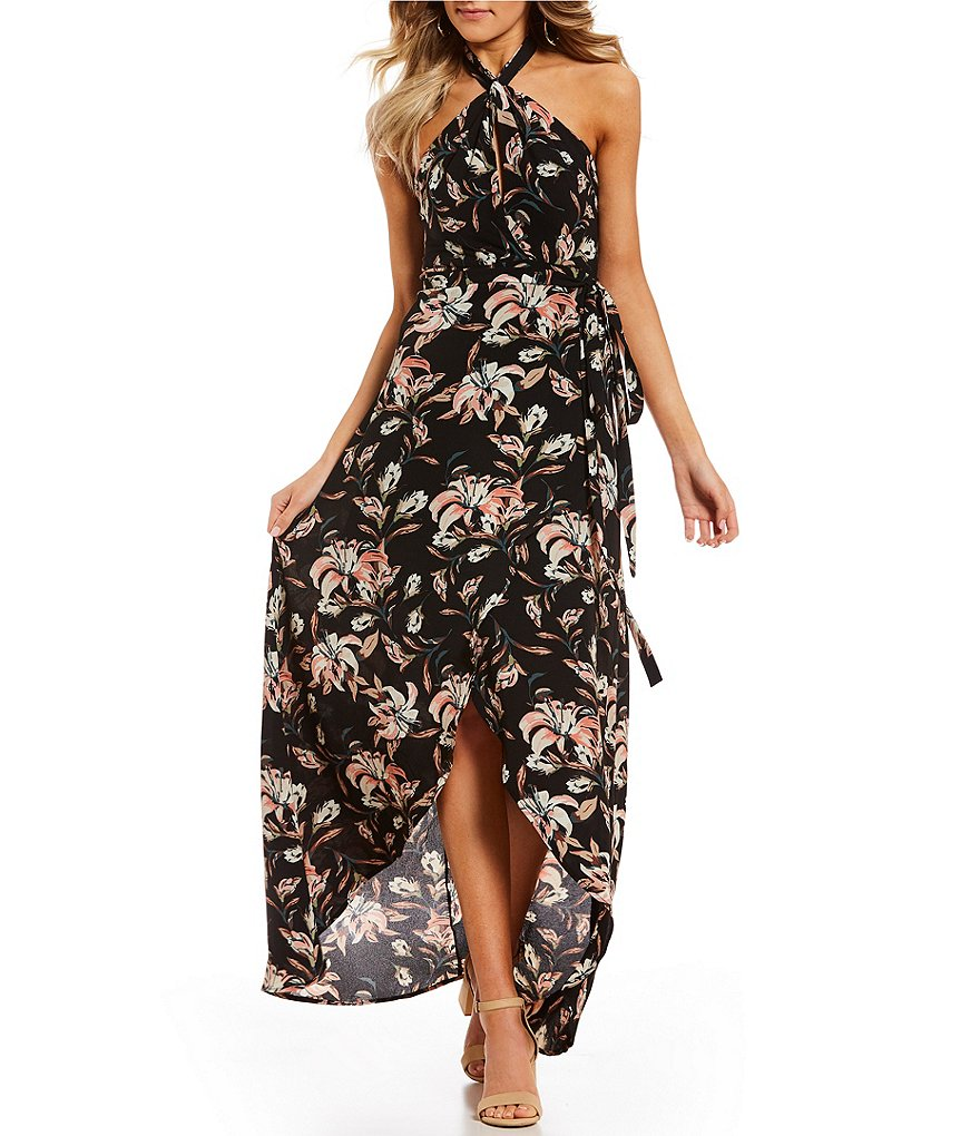 GB Tie Neck Floral Maxi Dress