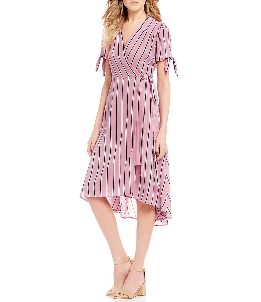 GB Tie Sleeve Midi Wrap Dress