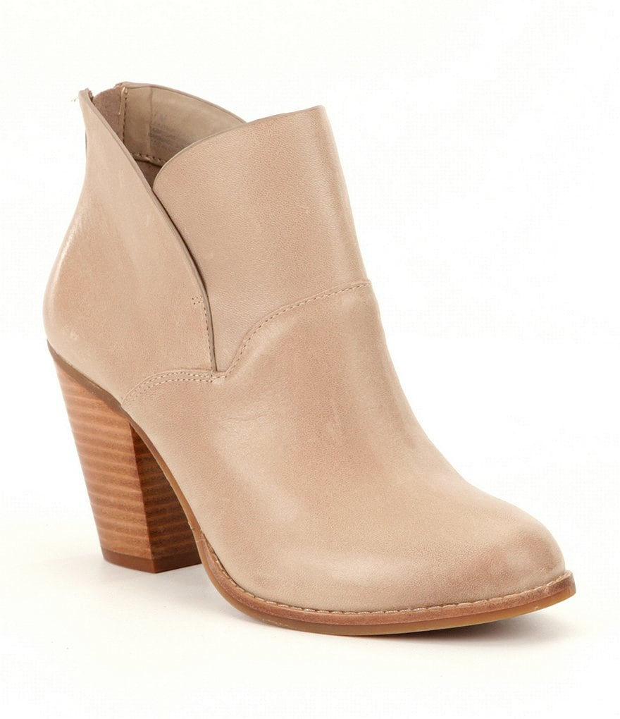 GB Top Tier Leather Back Zip Block Heel Booties