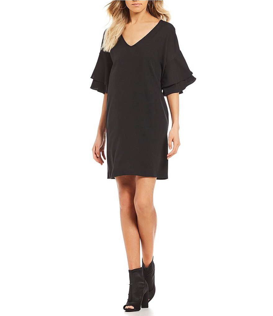 GB V-Neck Tiered Sleeve Dress
