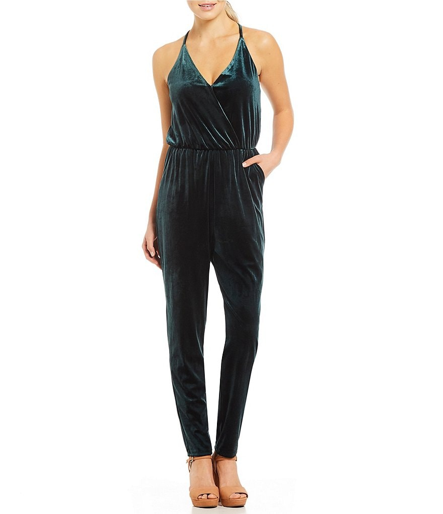 GB Velvet V-Neck Jumpsuit