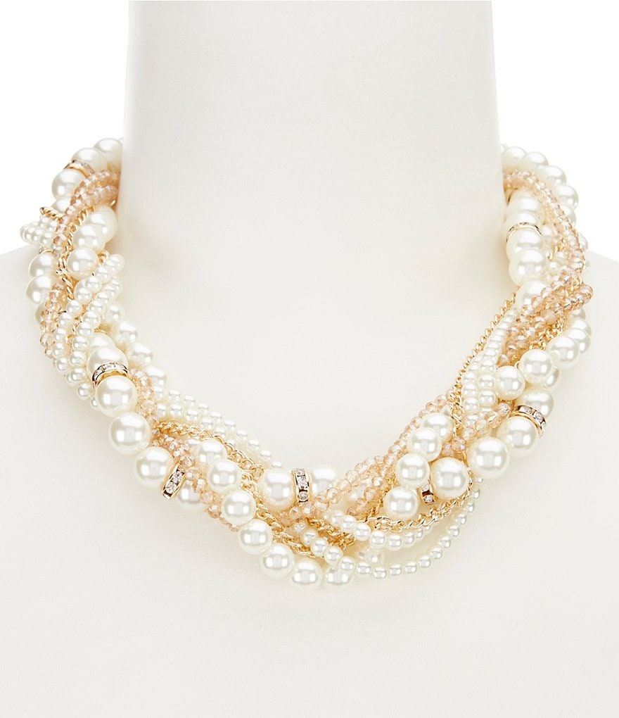 Gemma Layne 8-Row Faux-Pearl Torsade Statement Necklace