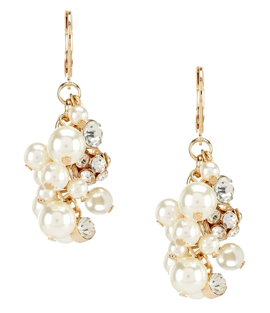 Gemma Layne Faux-Pearl Cluster Statement Drop Earrings
