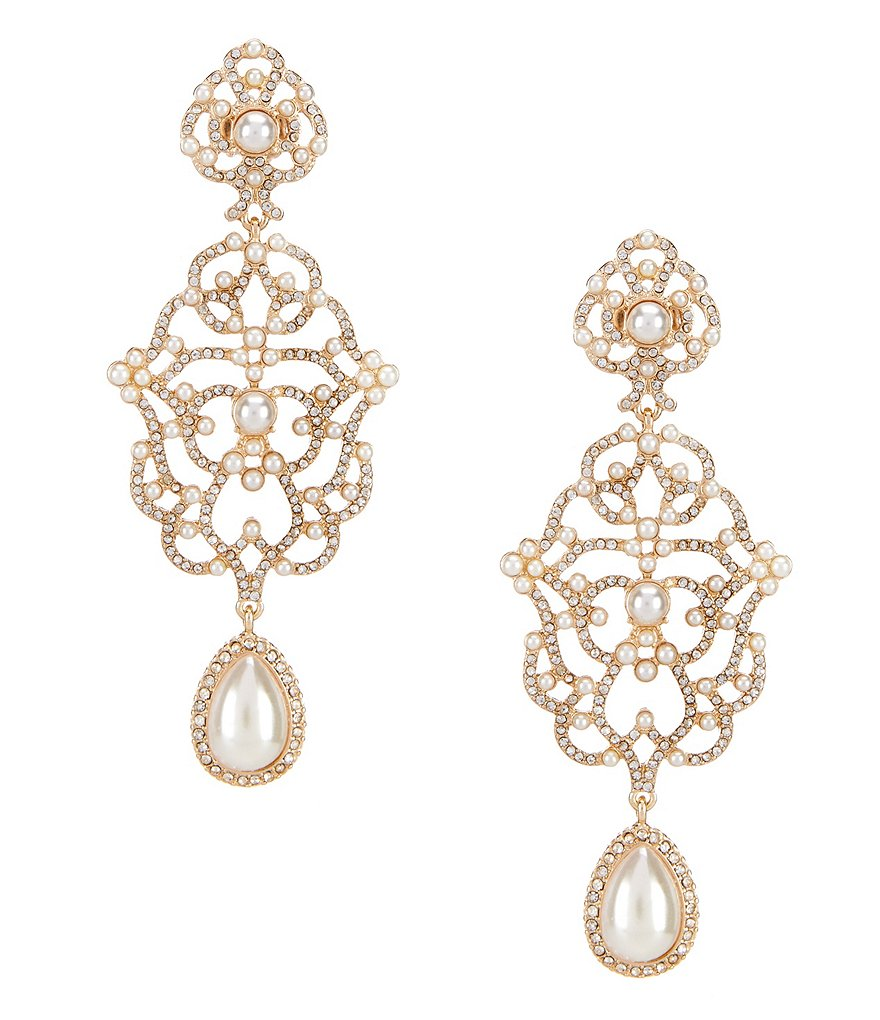 Gemma Layne Faux-Pearl Chandelier Statement Earrings