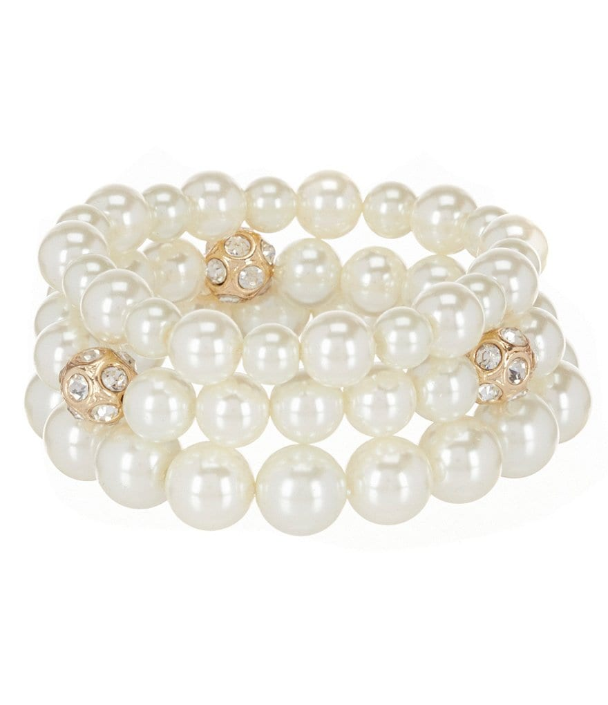 Gemma Layne Fire Ball Pearl Stretch Bracelet Set