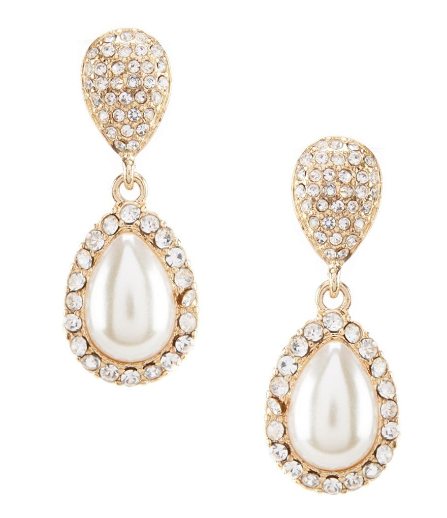 Gemma Layne Pavé & Faux-Pearl Teardrop Earrings