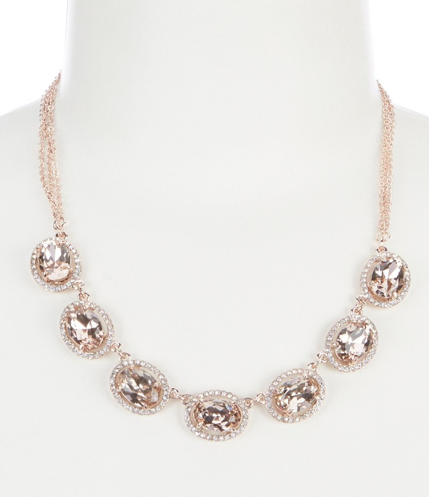 Gemma Layne Pavé Oval Frontal Statement Necklace
