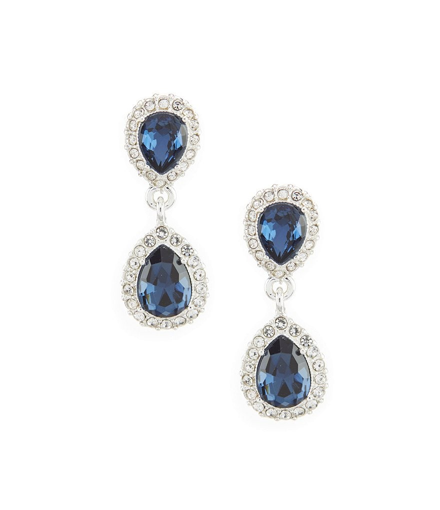 Gemma Layne Pavé Pear Double-Drop Statement Earrings