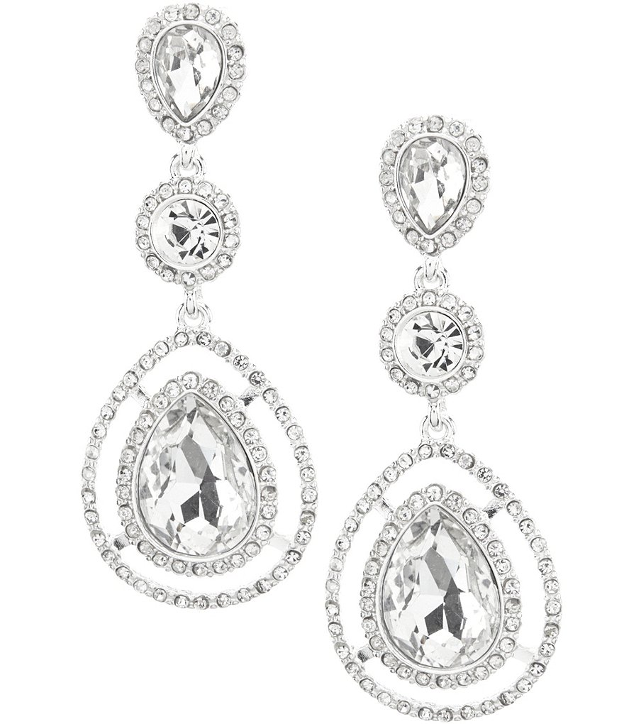 Gemma Layne Pavé Triple Tear Drop Statement Earrings