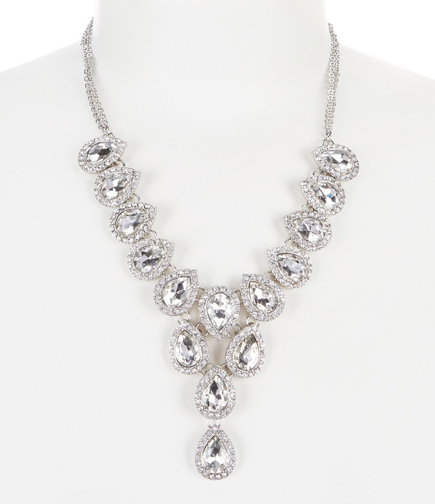 Gemma Layne Pavé Crystal & Pearl Statement Y-Necklace