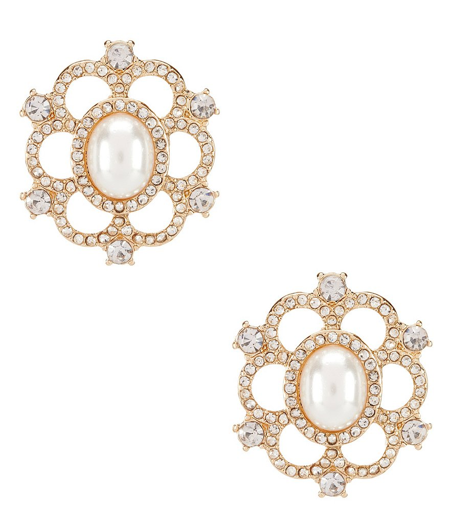 Gemma Layne Pavé & Faux-Pearl Flower Statement Stud Earrings